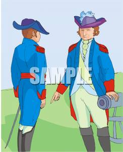 Free Clipart Image: Two Colonial Soldier Next To a Cannon.