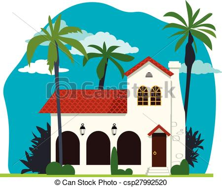 Vector Illustration of Spanish colonial house.