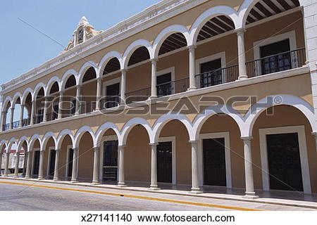 Stock Photography of Beige building with white trim, 16th.