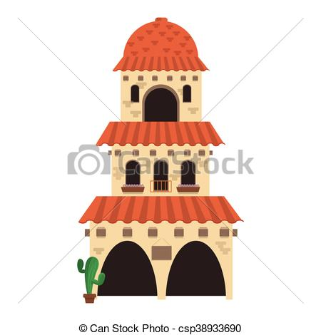 EPS Vectors of spanish colonial architecture icon.