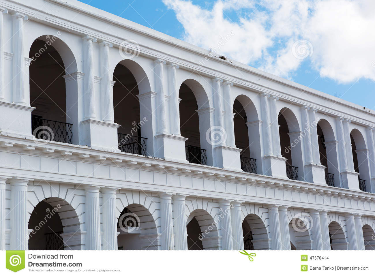 Colonial Spanish Building With Arches Stock Photo.
