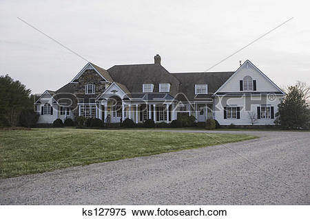 Stock Image of Exterior of large Colonial.