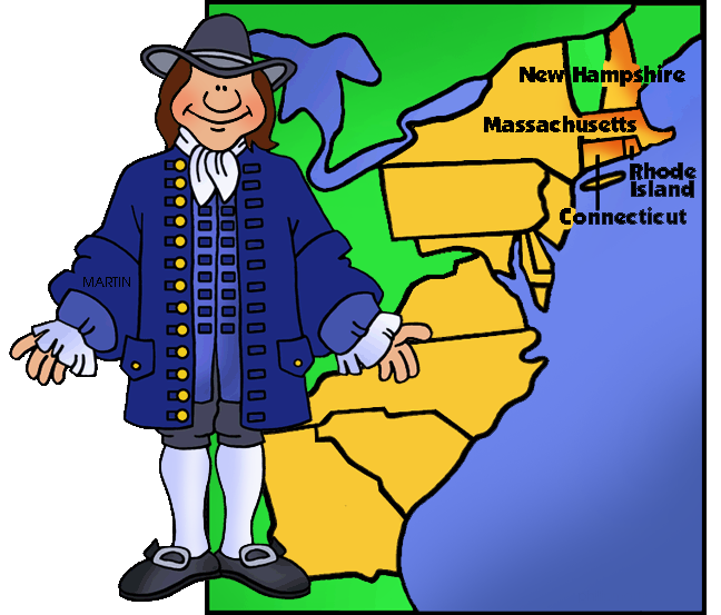New England Colonist and Map.