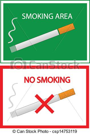 Vector Clip Art of no smoking and smoking area color vector.