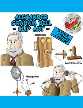 Alexander Graham Bell and his inventions Clip Art.