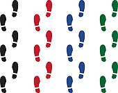 Clipart of Shoe Print Colors k12378394.