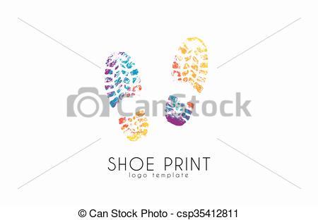 Vector Clip Art of Shoe print logo. Color shoe print. Creative.