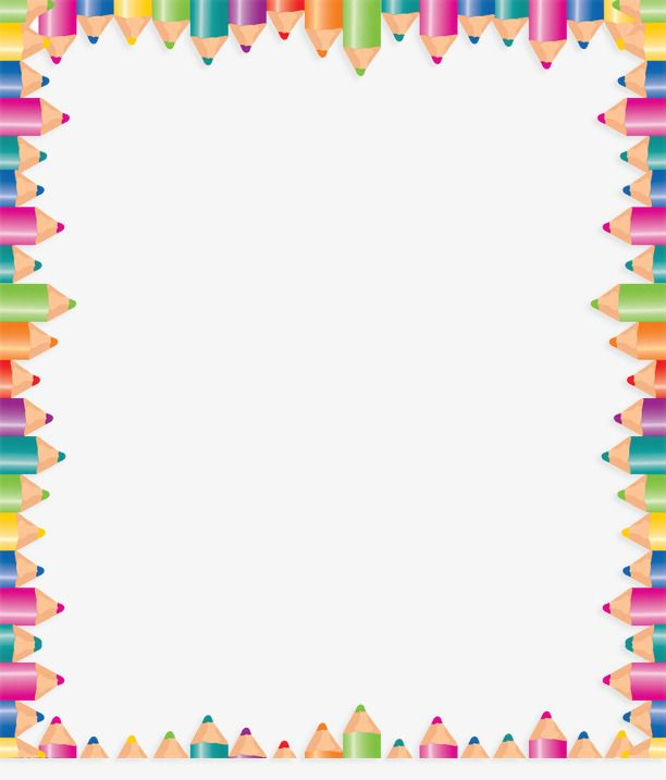 Color Pencil Border, Frame, Colored Border, Pencils Border PNG.