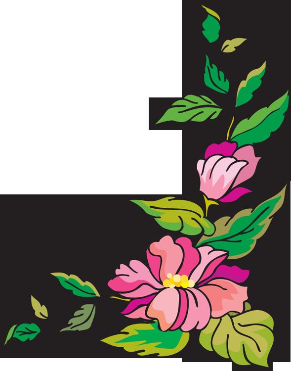 Flower Corner Border Clip Art.