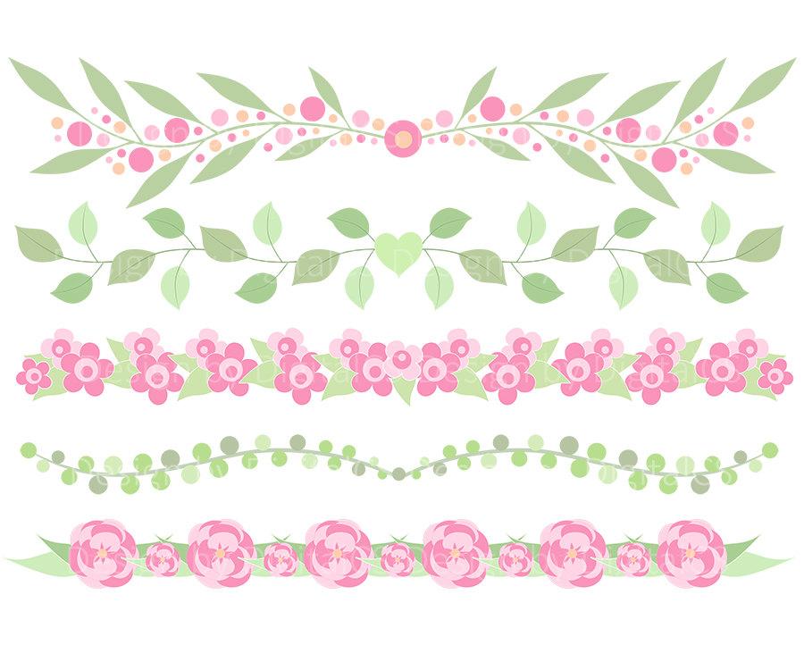 Flower border clipart Flower border clip art Digital flower border.