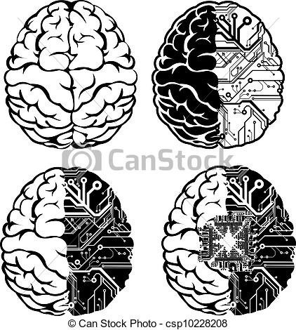 Vector Clipart of Set Of Four One Color Electronic Brain.