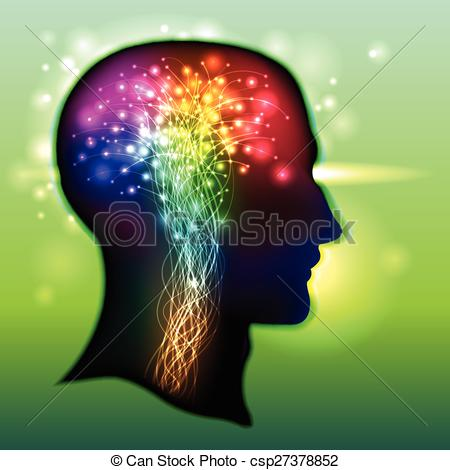 Clipart Vector of Human Brain Color of Neurons.