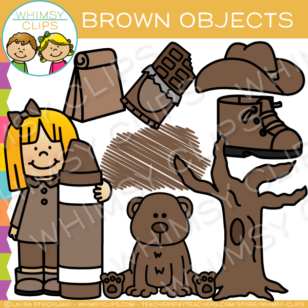 Brown Color Objects Clip Art.