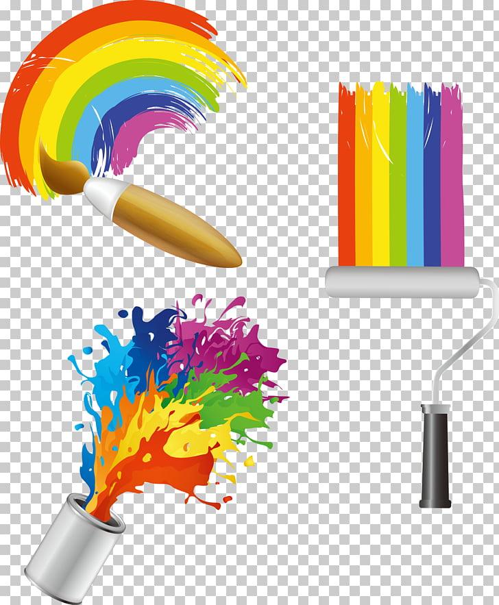 Paint Color Bucket , paint brush, color palette PNG clipart.