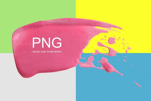 3 PNG acrylic color brushstrokes..