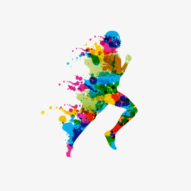 Running man color buckle creative hd free PNG clipart.