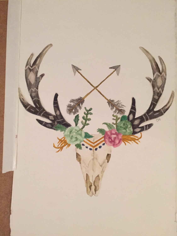 Deer Skull with Arrows and Flowers Watercolor, Deer, Skull, Arrows.