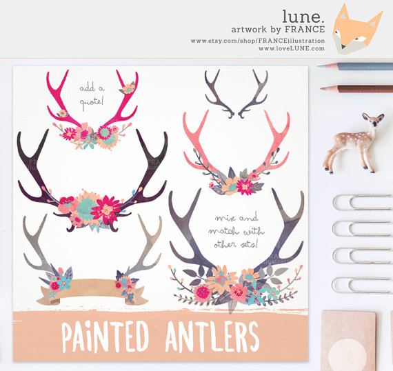 GET 3 FOR 2. Antler Clipart. Painted Watercolor Flower Clip Art.