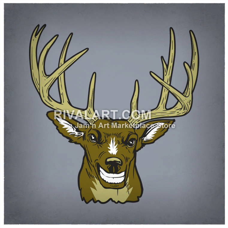 Colored 12 Point Buck Antlers Deer Head Trophy Graphic Digital File.