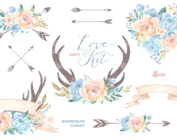 Love Kit Soft. Watercolor Clipart, peonies, arrows, antlers, heart.