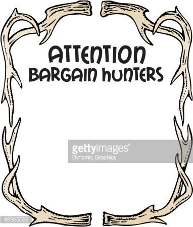 Border Heading Attention Bargain Hunters Deer Antlers Color Vector.