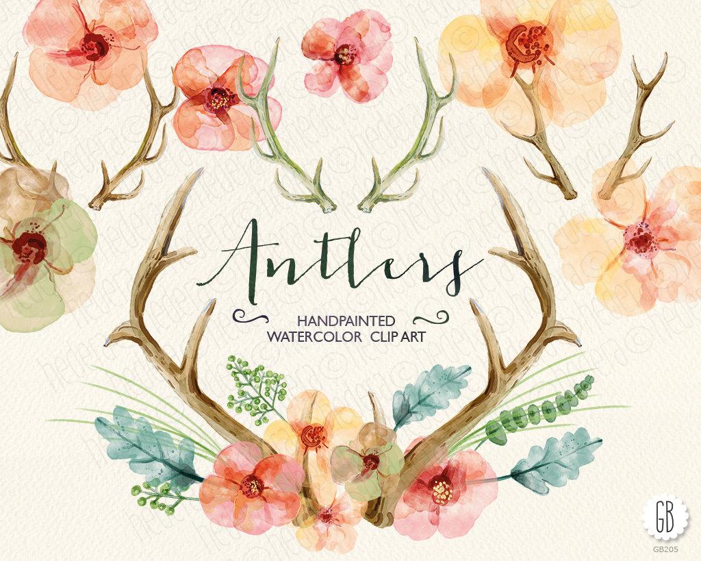 Watercolor flowers, hand painted antlers, wedding flowers, deer.