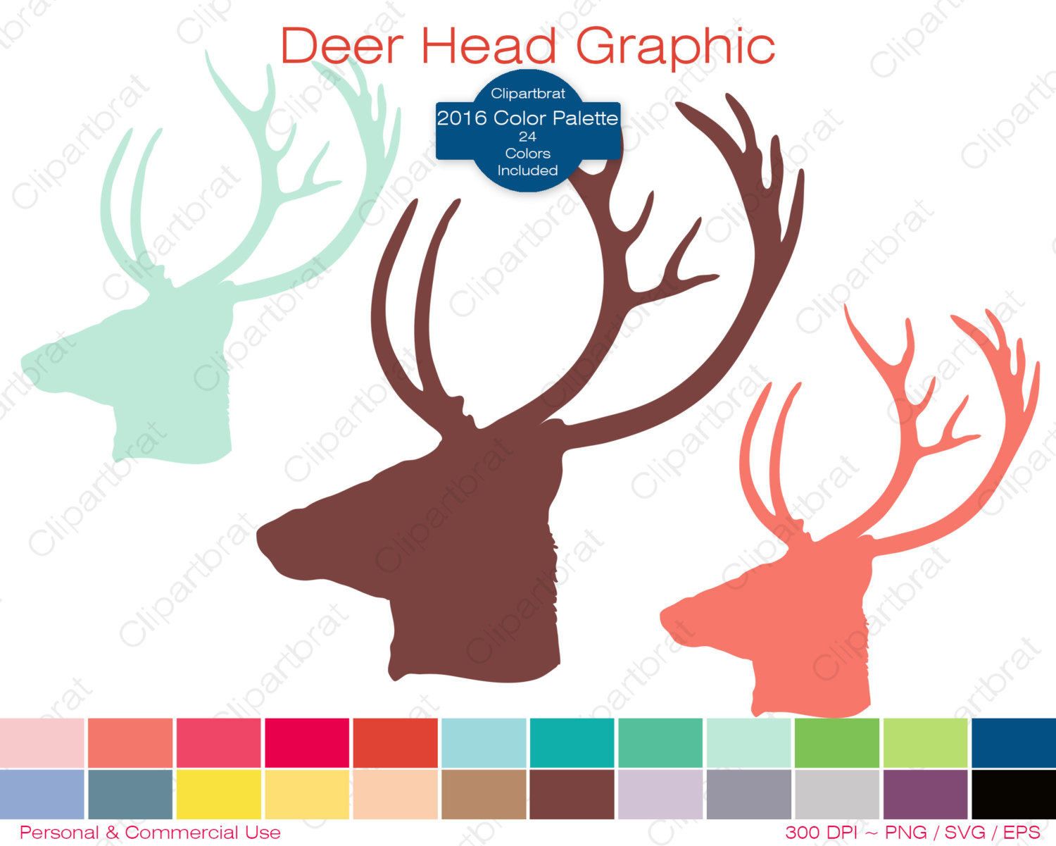 color clipart of antlers #17