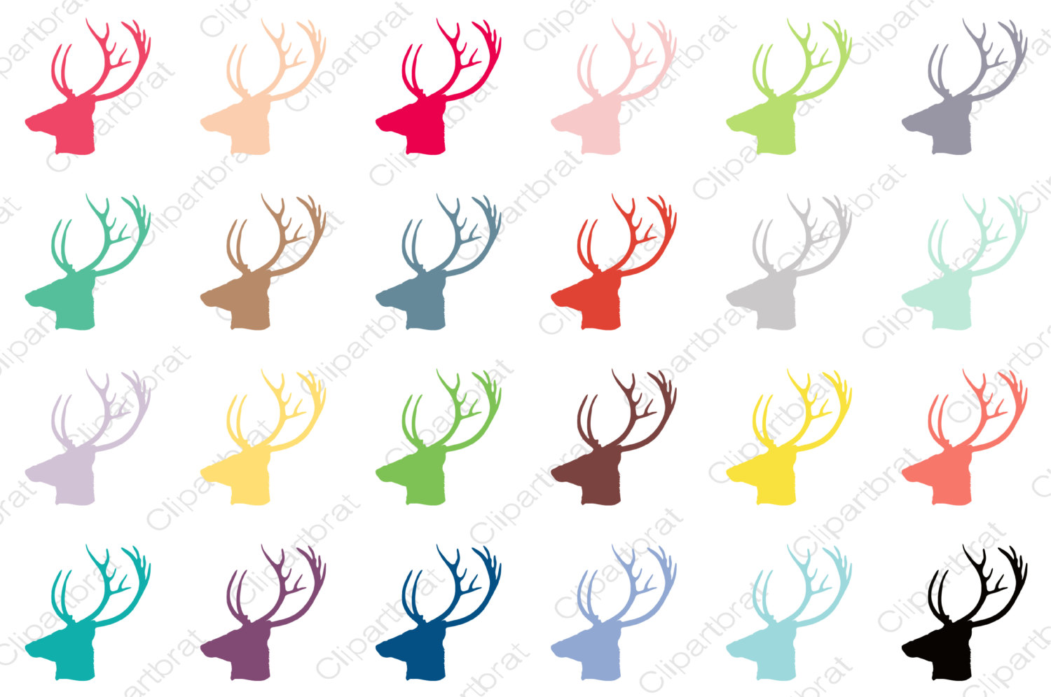 DEER HEAD Clipart Commercial Use Clipart Buck Antlers Graphic 2016.