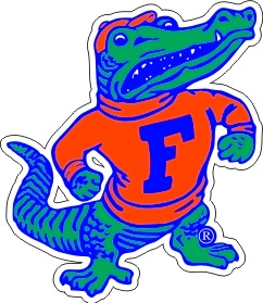Gators Albert Gator Mascot Indoor/Outdoor Die Cut Magnet.