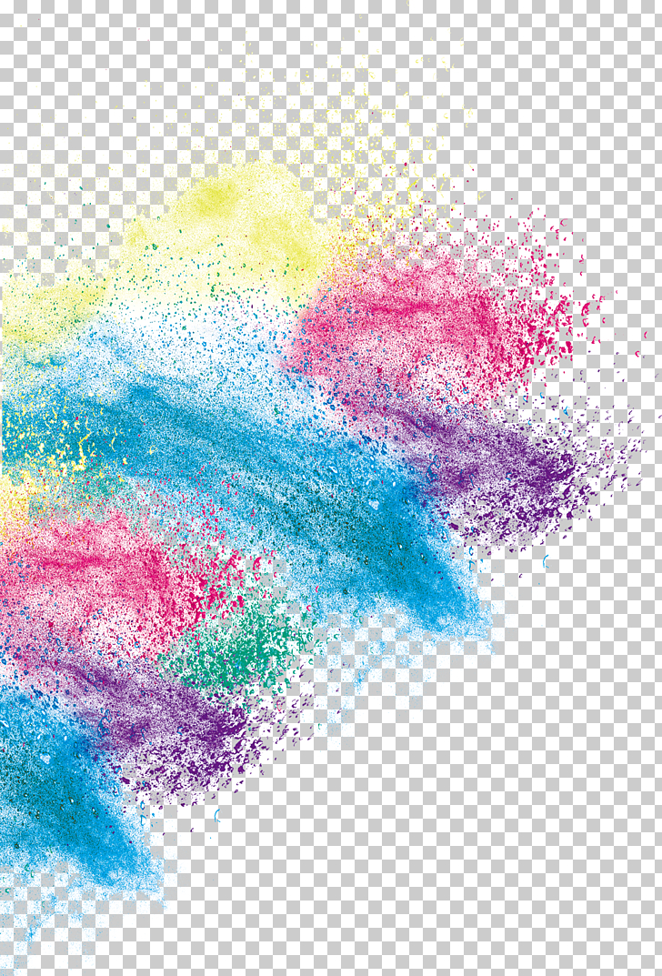 Inkjet printing, Creative color art dust effect, blue, red.