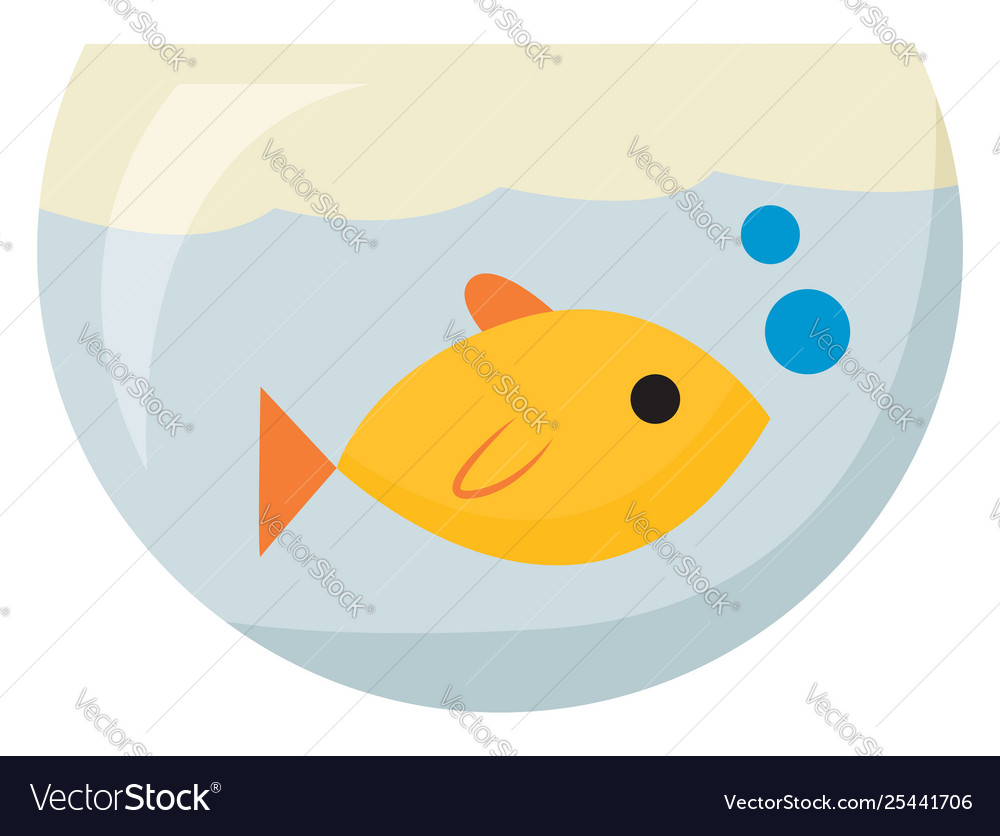 Clipart a yellow fish in fish tank or color.
