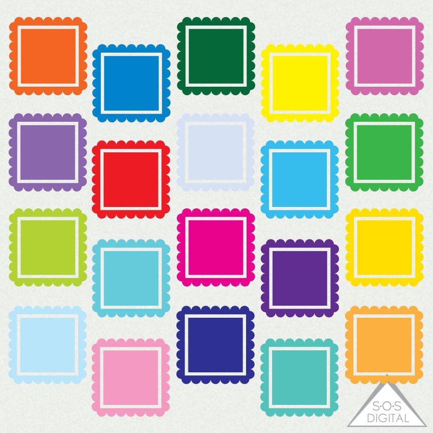 Bright Digital Frames, Square Frame, Clipart Frames, Primary Color.