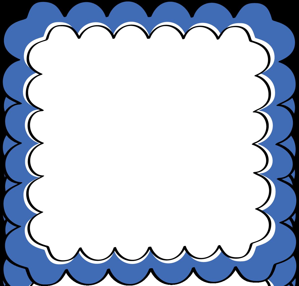 Blue Scalloped Frame.