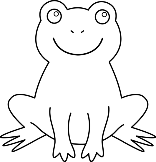 Frogs clipart black and white and in color.