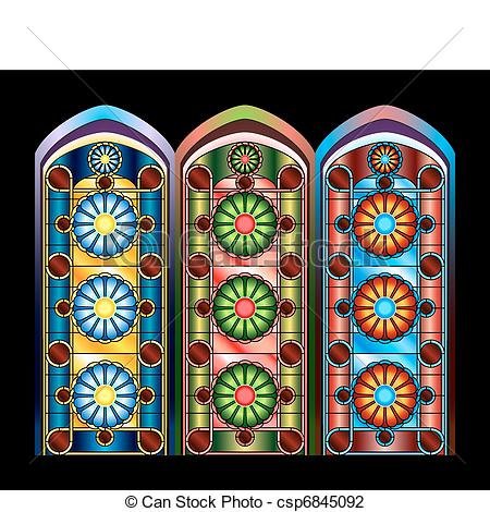 Vector Illustration of Stained glass windows in three color.