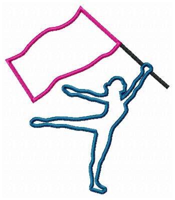 Color Guard Silhouette Embroidery Machine Applique Design.