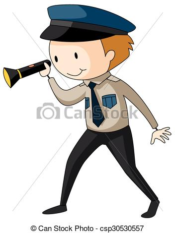 Clipart Vector of Security guard holding flashlight illustration.