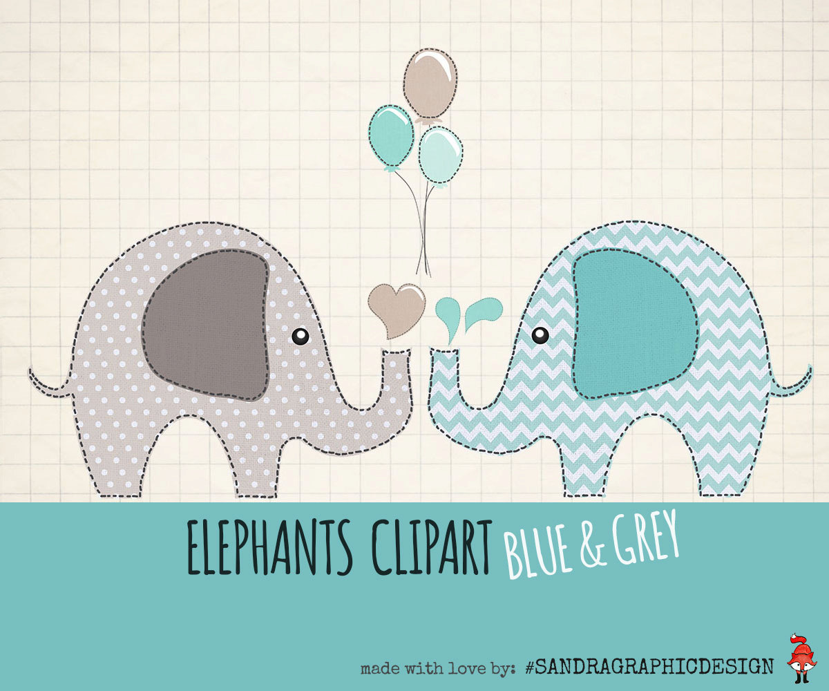 "Elephants clip art pack ""ELEPHANTS CLIPART"" with 12 pretty."