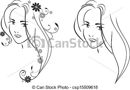 Vector Clip Art of Face of young pretty girl.