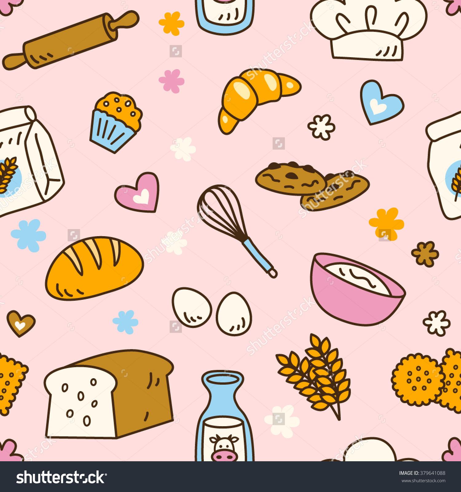 Cute Seamless Bakery Pattern Pretty Pink Stock.
