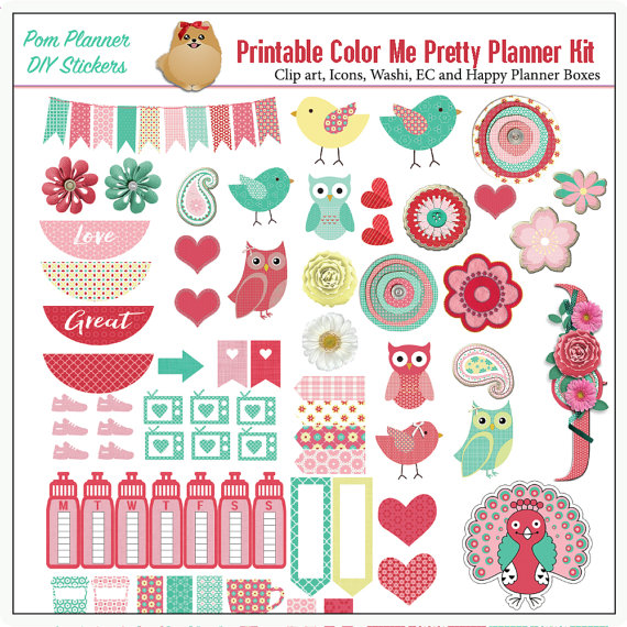 Planner Kit! Color Me Pretty Printable Stickers Kit, Spring Birds.