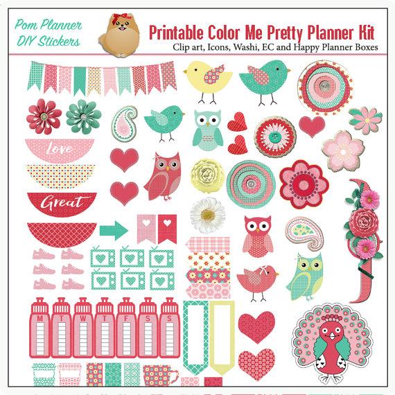 Planner Kit! Color Me Pretty Printable Stickers Kit, Spring Birds.