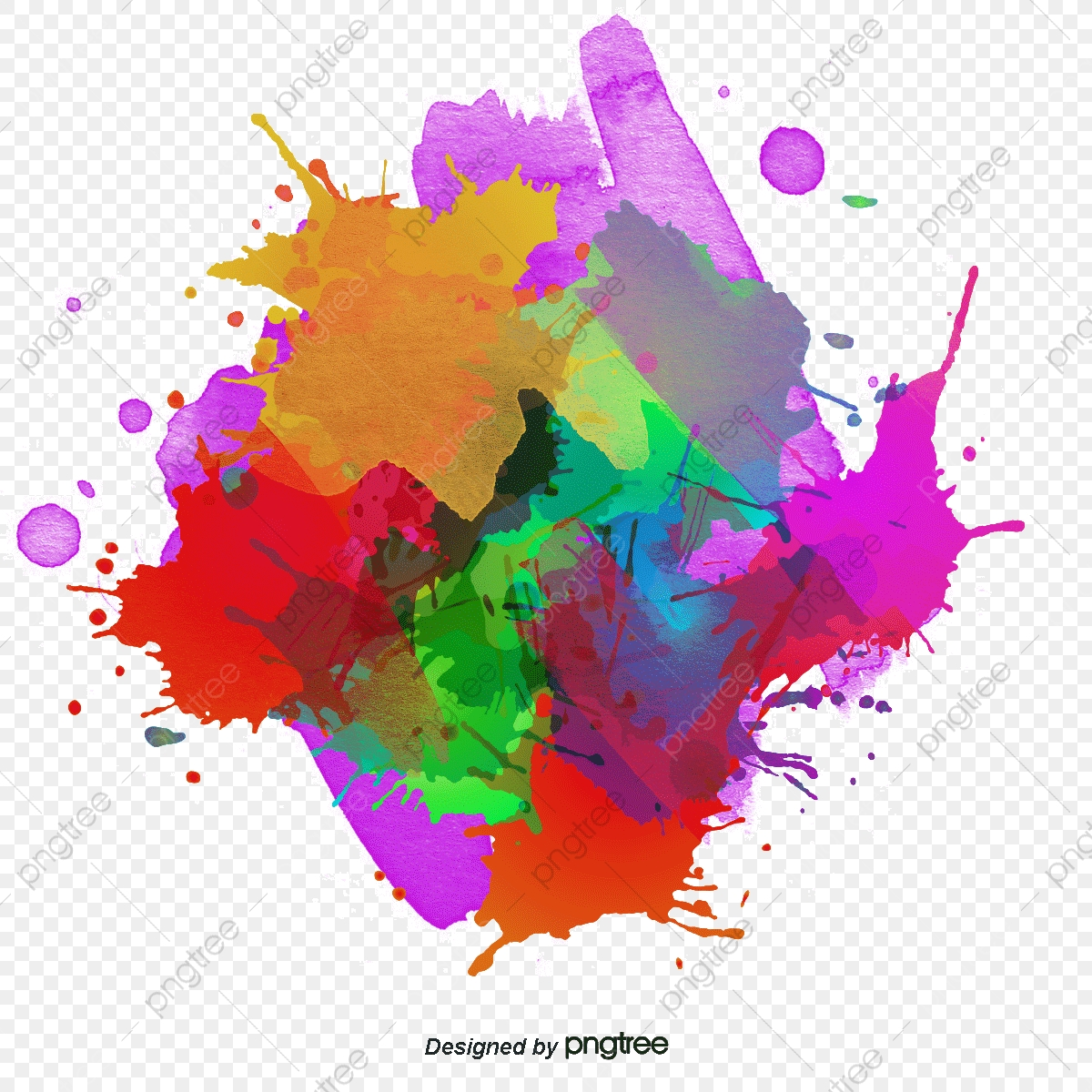 Round Color Ink Graffiti, Explosion, Color, Ink Jet PNG and Vector.