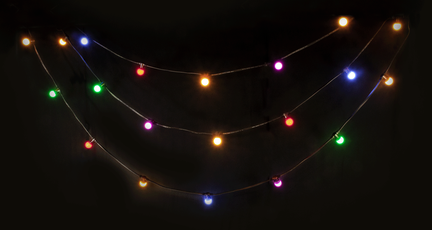 LED LIGHT STRING WITH 20 COLOR LED BULBS IP44.