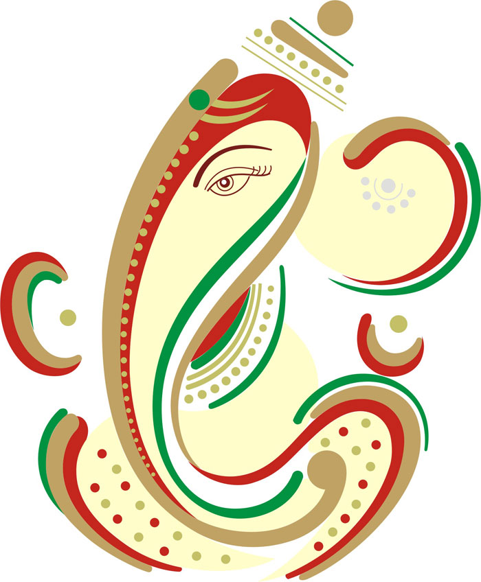 Ganpati Color Line Art.