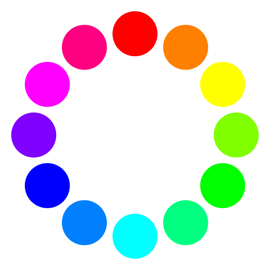 Clipart of a line of different color circles.
