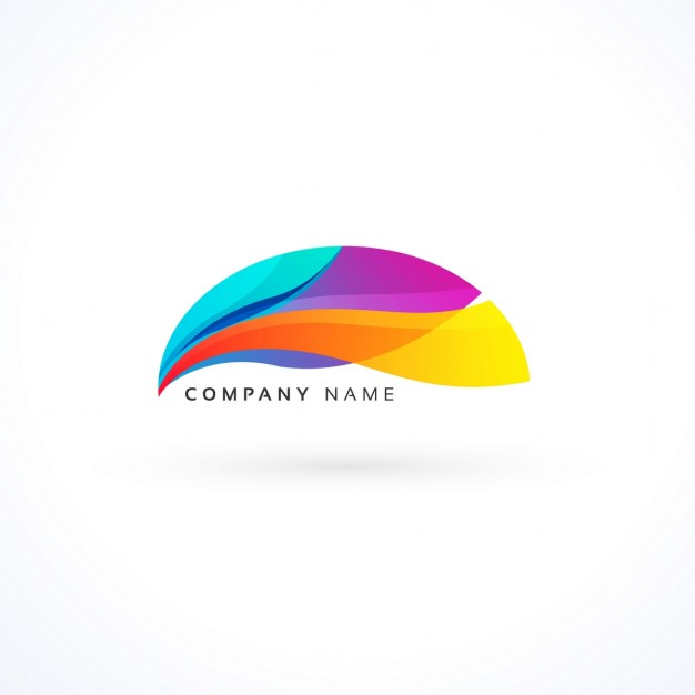 Full color logo with abstract shapes Vector.