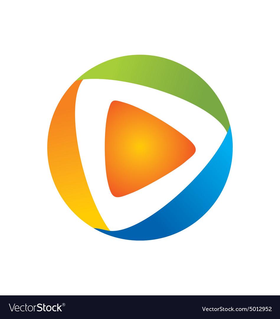 Video play icon color logo.