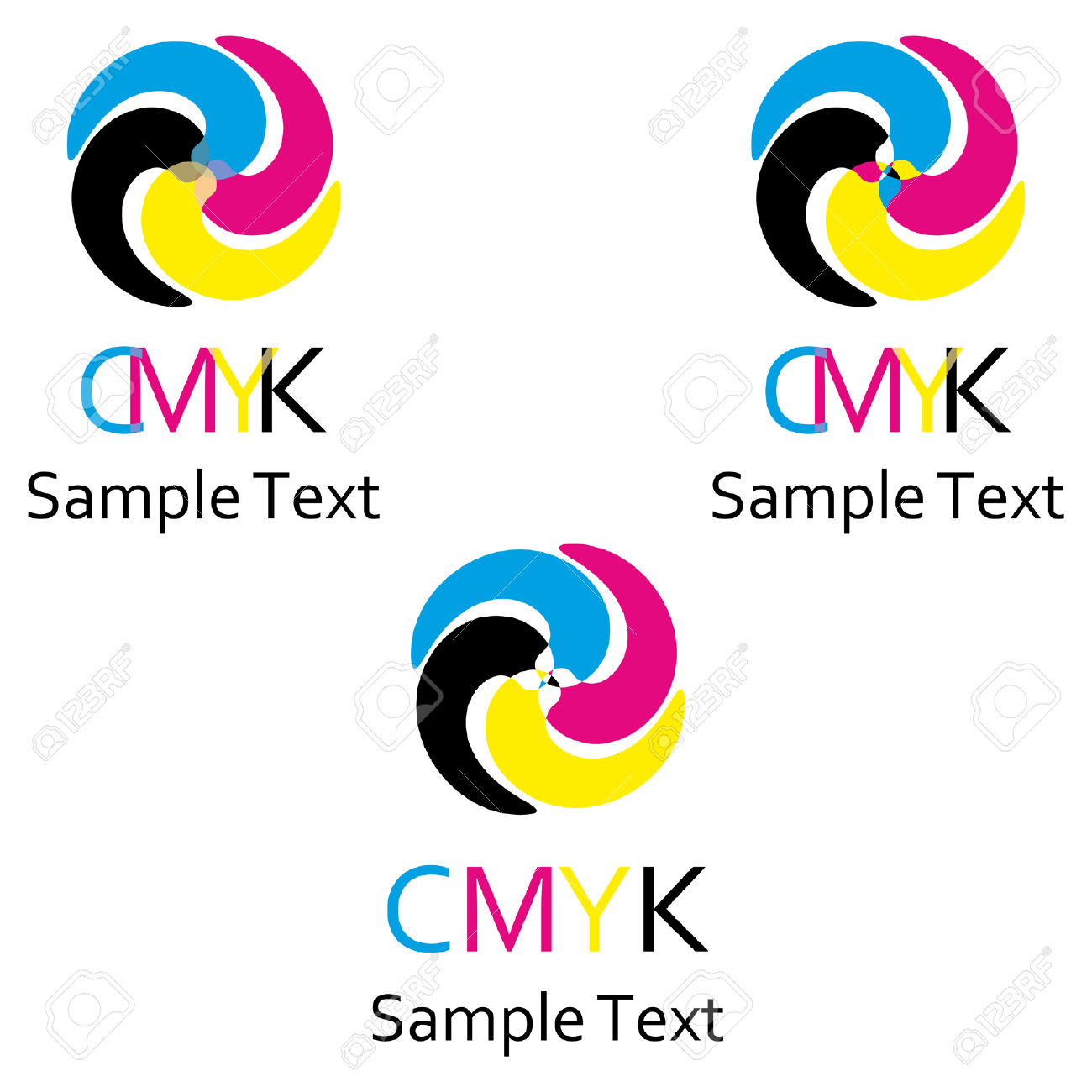 A Set Of Logos On The Theme Of Color Model Cmyk. Royalty Free.