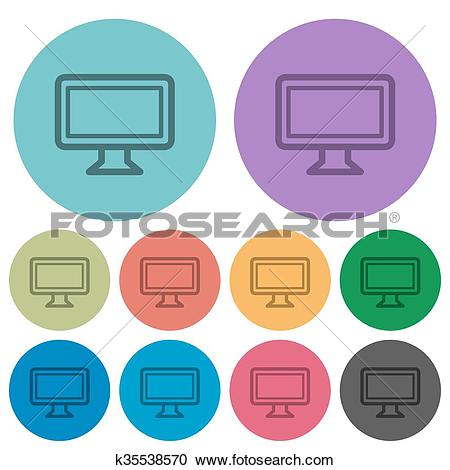 Clipart of Color monitor flat icons k35538570.